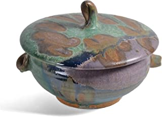 product image for Dock 6 Pottery 1-Quart Lidded Casserole Dish with Handles, Green/Purple