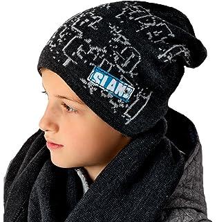 AJS Jungen Winterset Mütze Strickmütze Wintermütze Loopschal Grobstrick Bunt