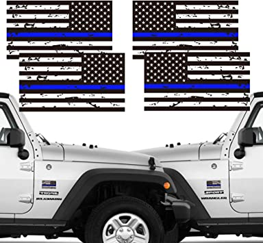 2 Pairs 3x5 in American USA Flag Decal Stickers for Cars Hard Hat Trucks Creatrill Reflective Tattered Thin Blue Red Green Line Decal Matte Black Support Police Fire Officers Military Troops Chengyuan