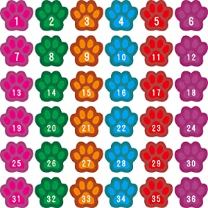 48 Pieces Number Spot Markers and Labels Paws Shaped Carpet Spots Classroom Line-up Spots Helpers Colorful Carpet Markers with Number
