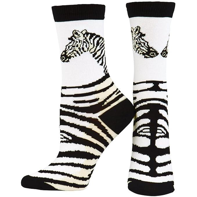 Mundo animal Cabeza de diseño de piel de cebra y rayas calcetines para mujer color blanco Blanco blanco: Amazon.es: Ropa y accesorios