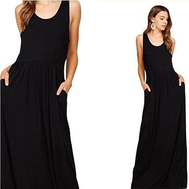 bcec1ca51b9a sassyclassyjewelry Casual Sleeveless Racerback Maxi Dress Pockets Loose  Tunic Tank Full Length (Small, Black