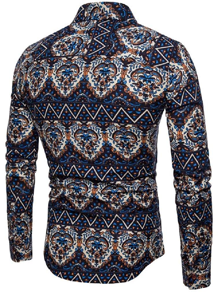 Joe Wenko Mens Lapel Neck Ethnic Style Slim Fit Printed Curved Hem Button Down Shirts