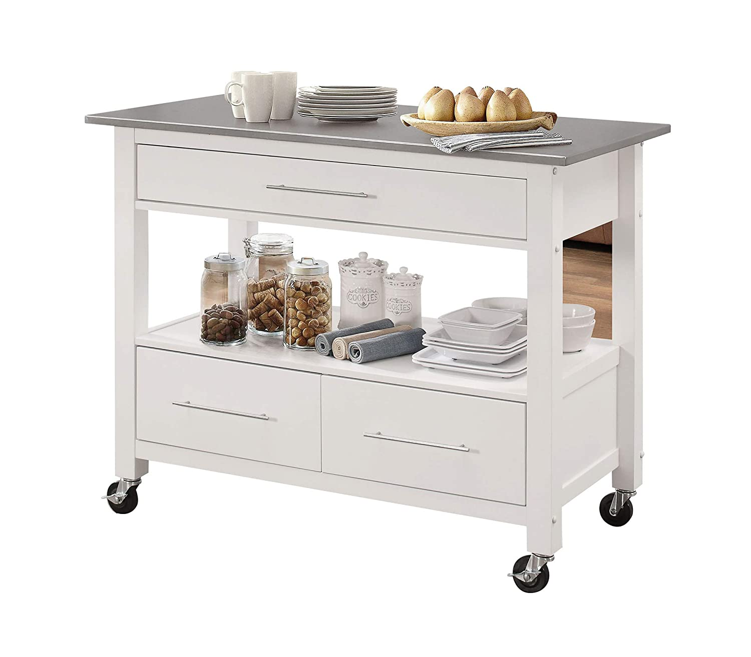 Acme Furniture 98330 Isl Ottawa Kitchen Island Stainless Steel White