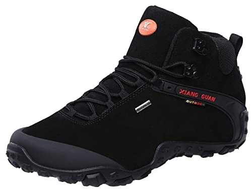 ce6fc66ca1e XIANG GUAN Men's Outdoor High-Top Lacing Up Water Resistant Trekking Hiking  Boots