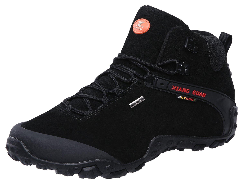 XIANG GUAN Men's Outdoor High-Top Lacing up Water Resistant Trekking Hiking Boots Black 9.5