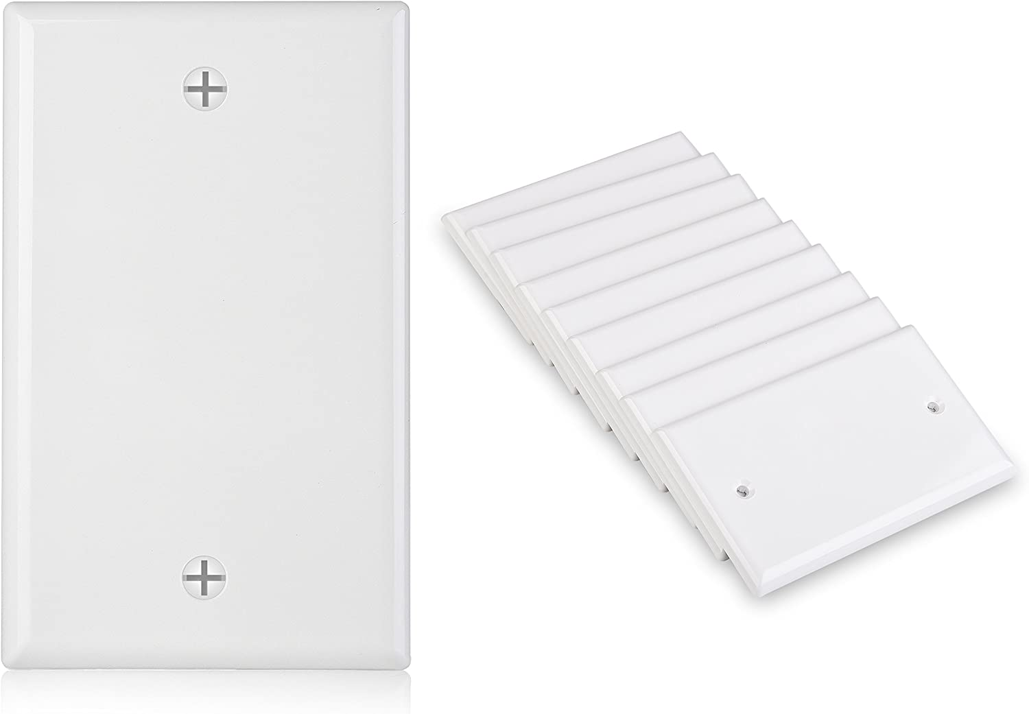 Cable Matters UL Listed 10-Pack Single-Gang Blank Wall Plate Cover in White