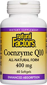 Natural Factors, Coenzyme Q10 400mg, CoQ10 Supplement for Energy, Heart and Antioxidant Support, 60 softgels (60 servings)