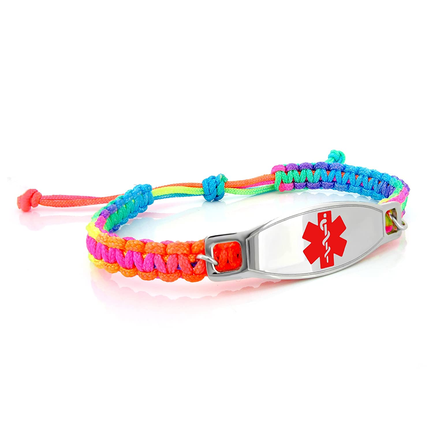 MedicEngraved Kids Rainbow Macrame Medical ID Bracelet with Surgical 316L Stainless Steel Bright Colour Enamel Medical Tag - Adjustable 5.5-8 inch - Customized Medical Engraving Included