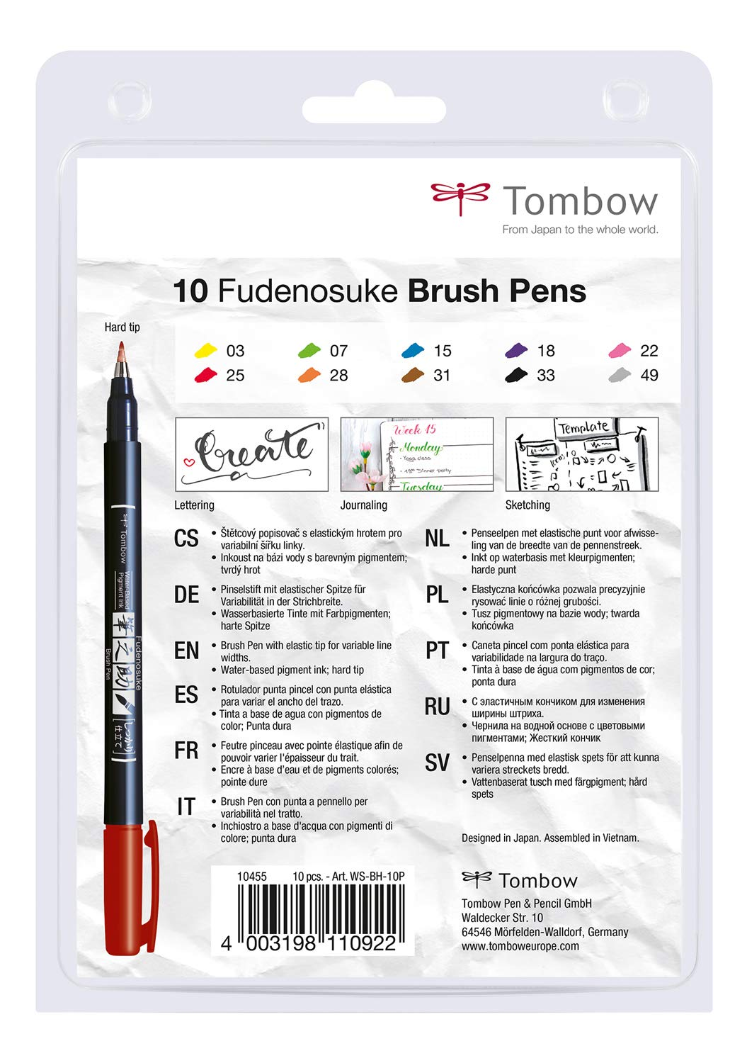 Tombow WS-BH-10P Fudenosuke Colour Brush Pens (Pack of 10) by Tombow (Image #2)