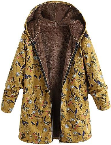 ALISIAM Abrigo Vintage de Mujer Bolsillos Estampados cálidos de ...