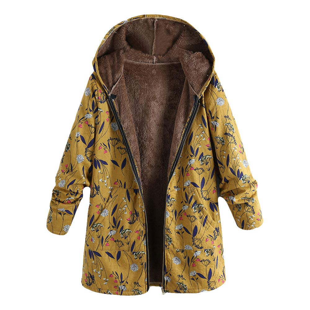 GREFER Womens Winter Warm Outwear Floral Print Hooded Pockets Vintage Oversize Coats Yellow by GREFER