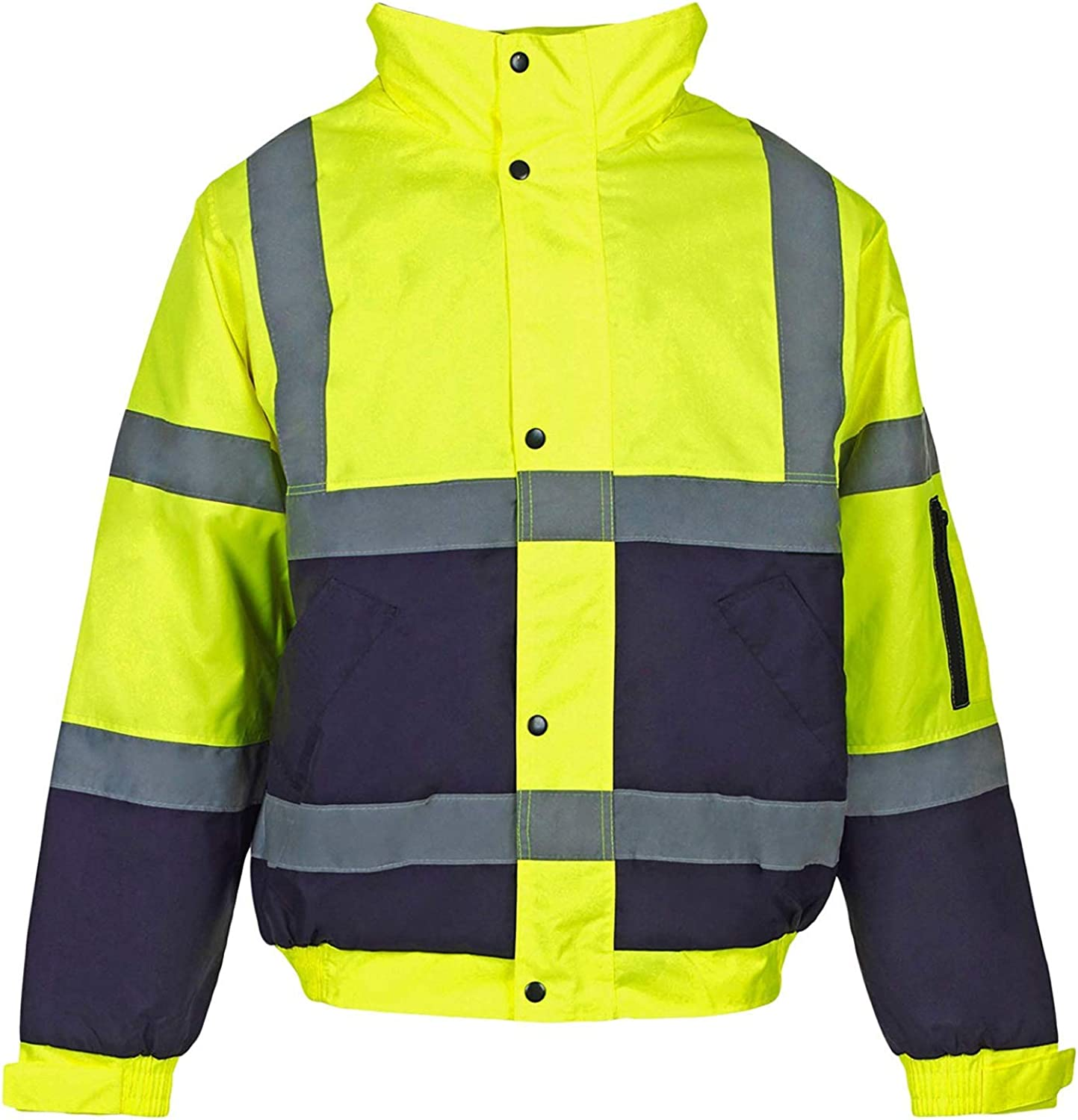 MyShoeStore Hi Viz Vis Bomber Jacket High Visibility Security Workwear Safety Wear Fluorescent Flashing Reflective Tape Contractor Concealed Hood Waterproof Padded Hooded Work Coat Top Size S-4XL