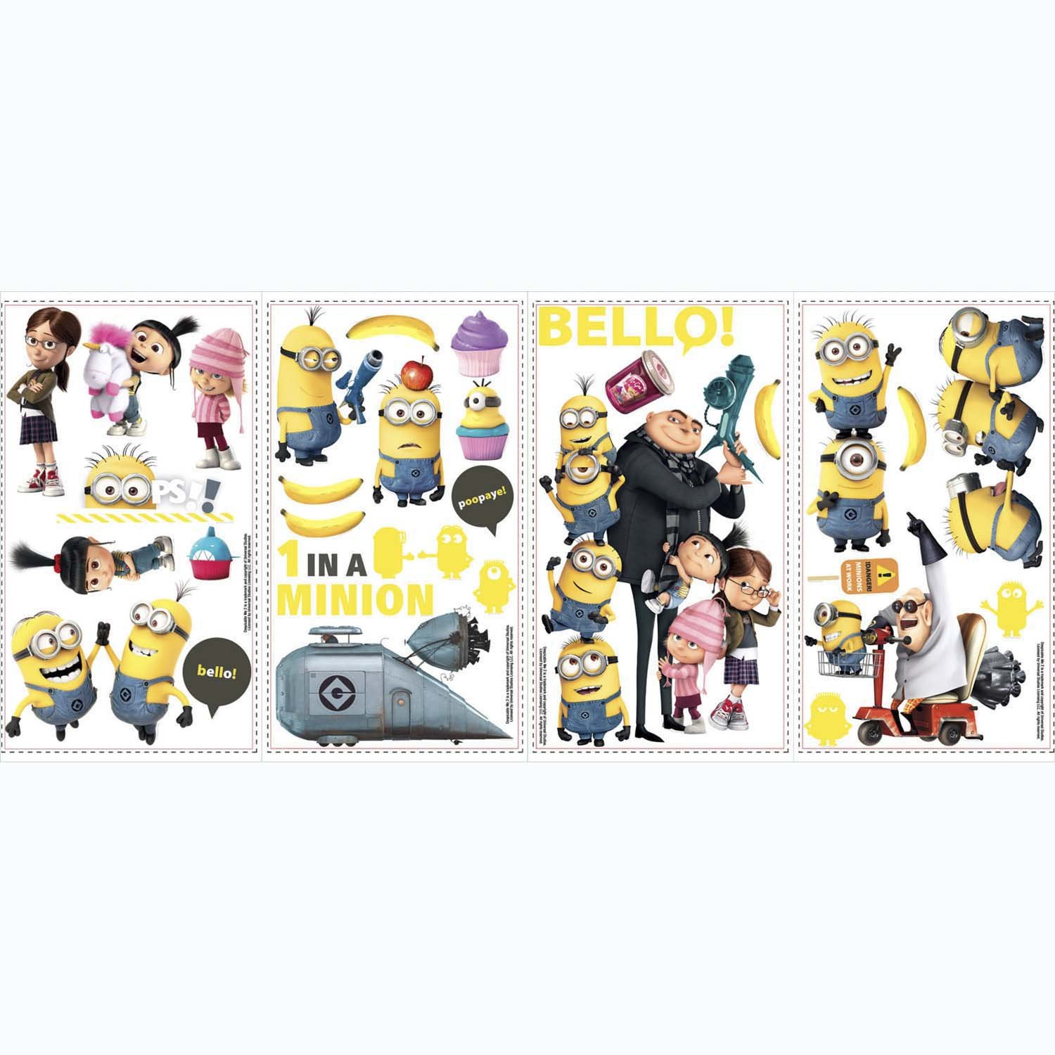 roommates rmk2080scs despicable me 2 peel and stick wall decals decorative wall appliques amazoncom