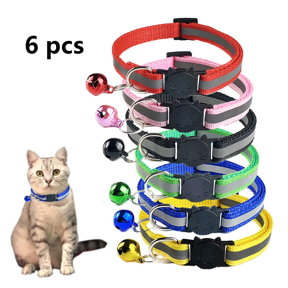TCBOYING Breakaway Cat Collar with Bell, Mixed Colors Reflective Cat Collars – Ideal Size Pet Collars for Cats or Small…