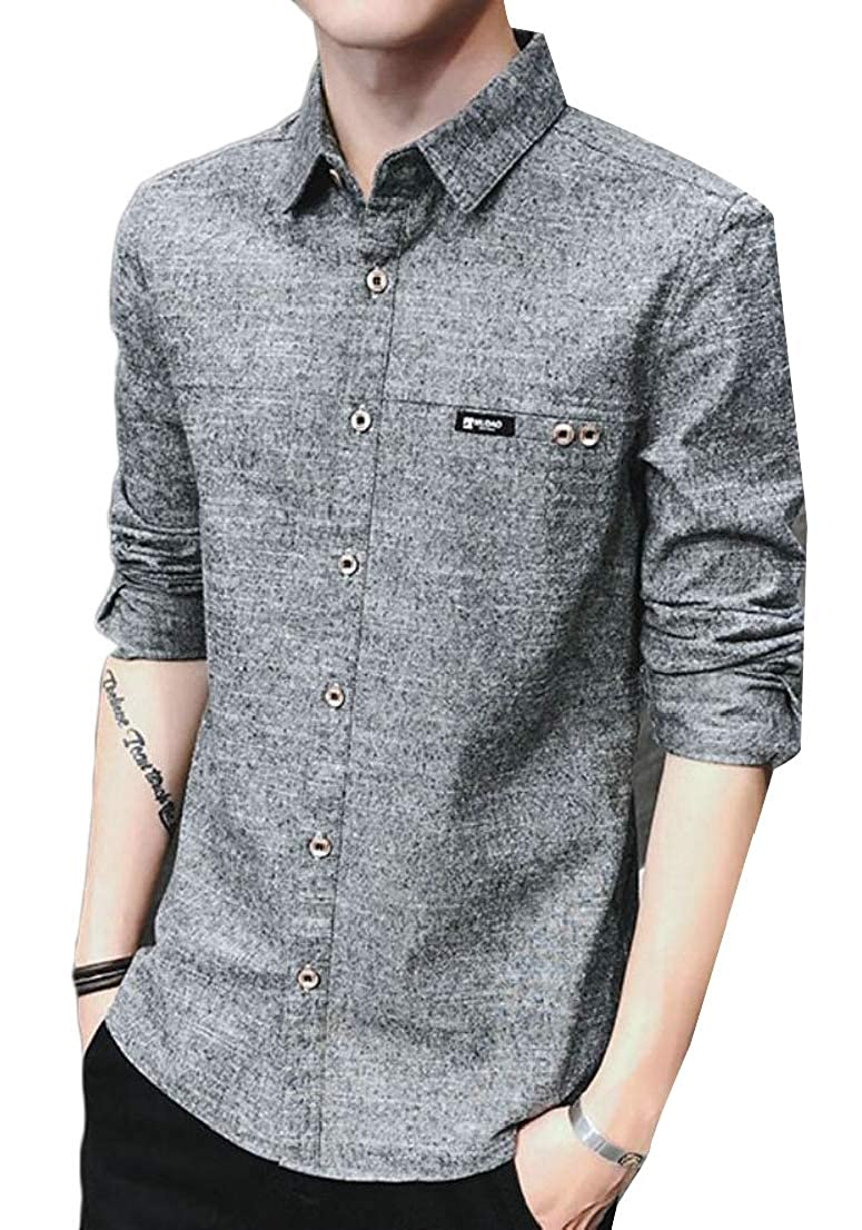 Generic Mens Cotton Slim Fit Long Sleeve Casual Solid Button Down Shirts