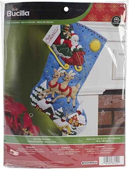 86450 Over The Rooftops Bucilla 18-Inch Christmas Stocking Felt Applique Kit