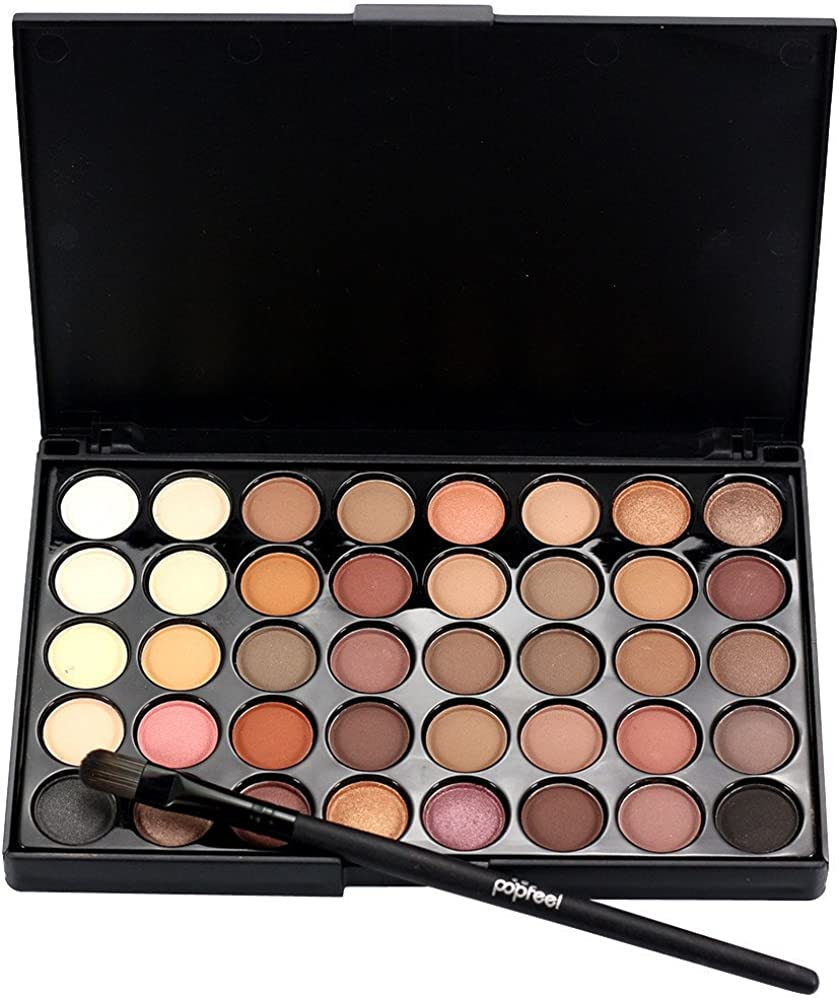 Tiandino 40 Color Eyeshadow Palette Makeup Cream Eye Shadow Shimmer Set Matte Glitter Cosmetic Kit+Brush Set