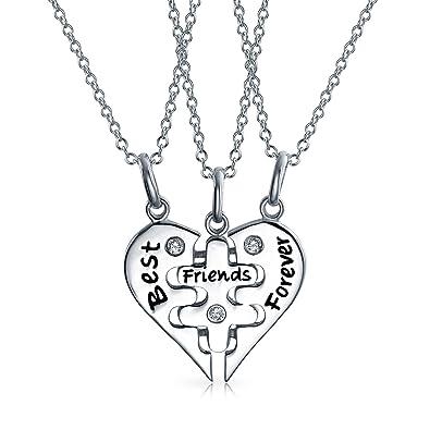 590ff9b6100f6 Amazon.com: Bling Jewelry Best Friends Forever BFF Split Broken ...