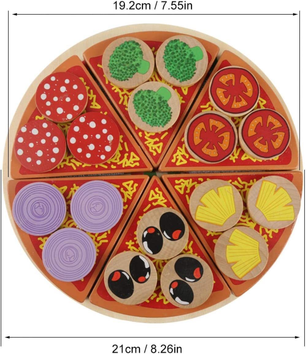 Zerodis Spielküche Schneide Pizza aus Holz mit Pizzaschneider Rollenspiel Pädagogische Spielzeug für Kinder