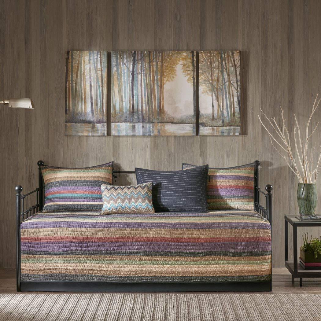 6 Piece Grey Tan Southwest Daybed Set Bedding, Geometric Chevron Zig Zag Stripe Southwestern Striped Pattern Day Bed Bedskirt Pillows, Polyester