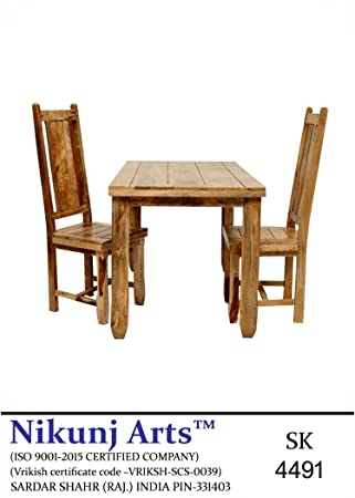 Nikunj Sheesham Wood Two Seater Dining Table Set for Home Living Room- Brown