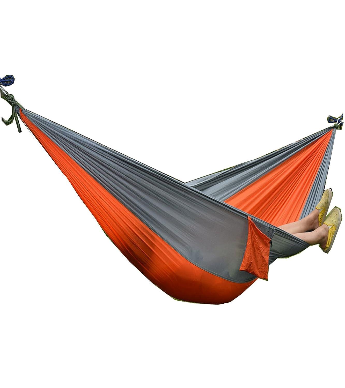 ポータブルパラシュートナイロン生地旅行キャンプHammock B071R8RS6B  Orange/Gray- 106 x 55Inches