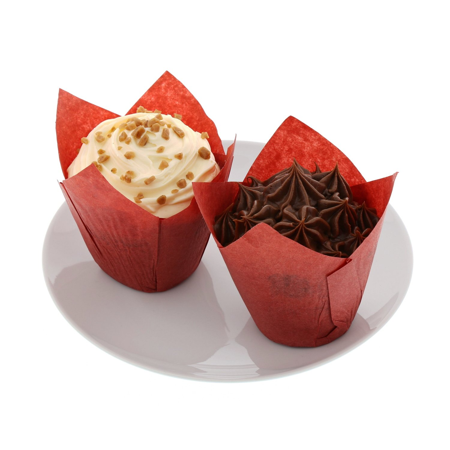 Package of 200 CiboWares Small Red Tulip Style Baking Cups