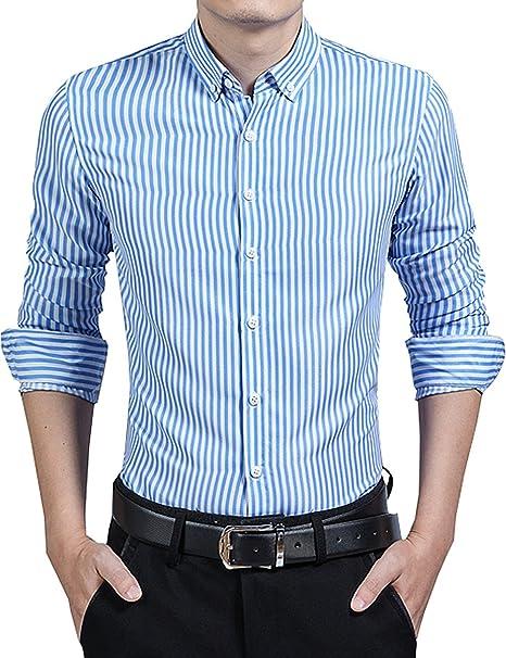 d6dd0e40b88 DOKKIA Men s Formal Business Vertical Striped Button Down Long Sleeve Dress  Shirts (Medium