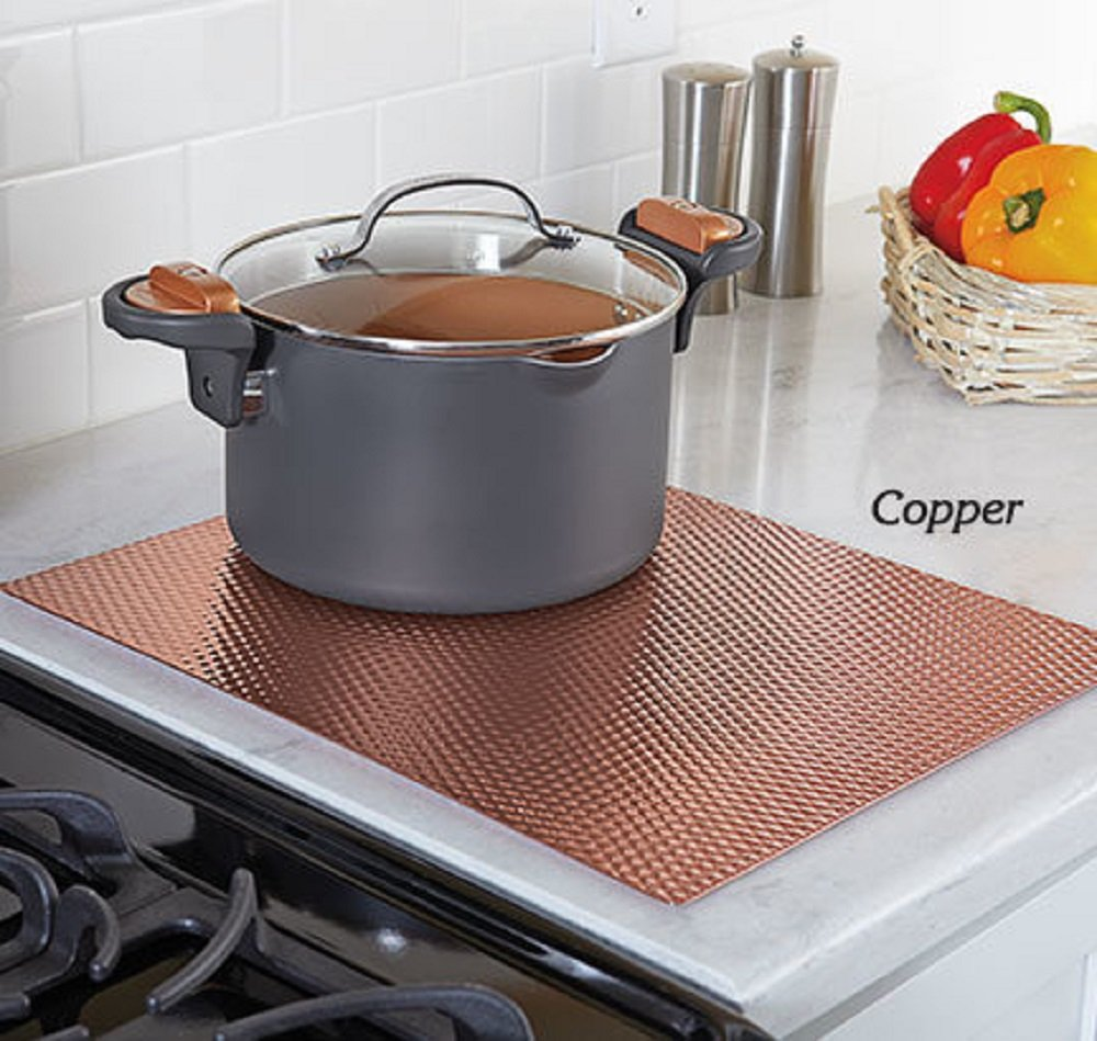 MS Home Scratch-Free Non-Skid Insulated Stainless Steel Counter Top Mat Protection with Cushion - Heavy-duty, Easy-to-clean (14'' W x 17'' L, Copper)