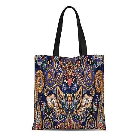 542e496dcd6 Amazon.com: Semtomn Cotton Canvas Tote Bag Blue Paisley Pattern ...