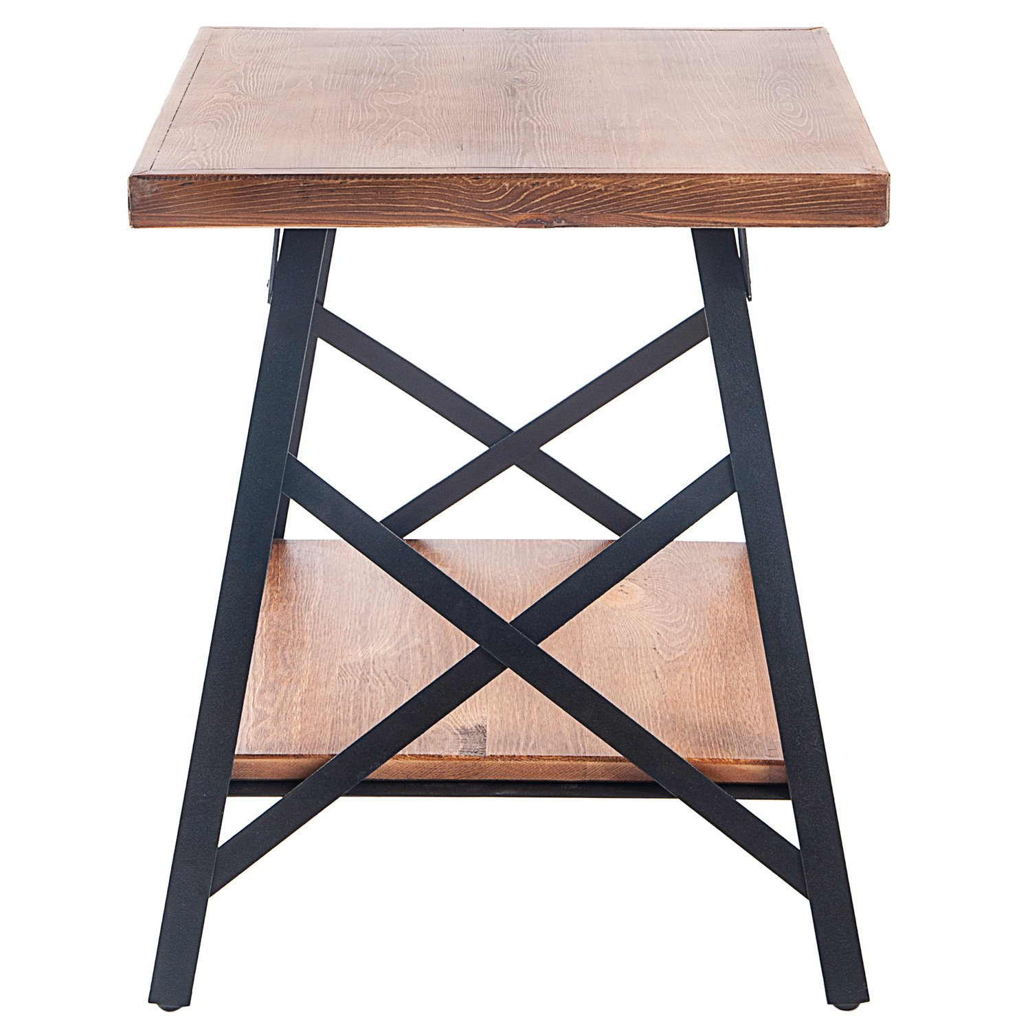 Harper&Bright Designs End Table with Metal Legs, Living Room Set, Solid Wood, Rustic (Brown) by Harper&Bright Designs (Image #3)