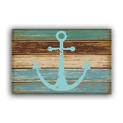 Amazon Com Blue Nautical Anchor Rustic Old Barn Wood Door Mats