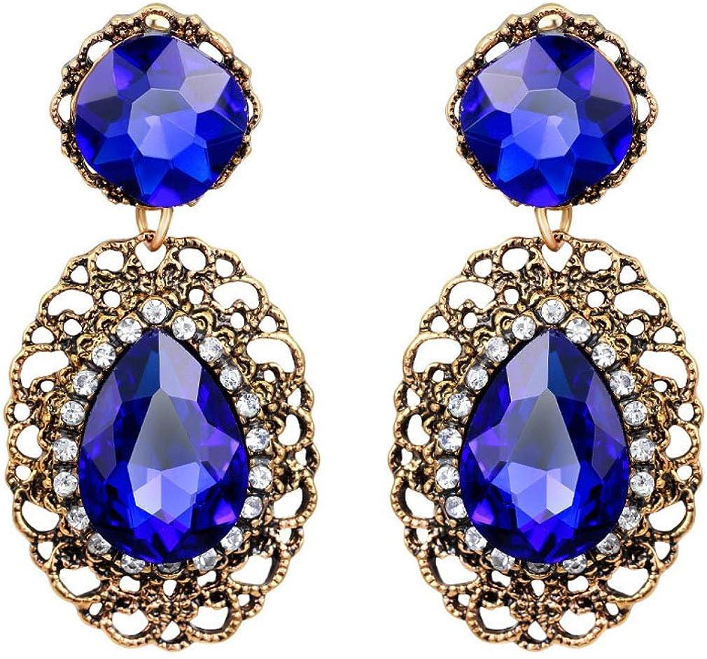 YAZILIND Pendientes colgantes de diamantes de imitación de tanzanita. Pendientes de circonio chapados en oro. Piedras preciosas.