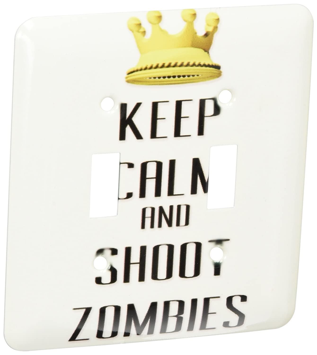 3dRose lsp/_120888/_2  Gold Crown Keep Calm and Shoot Zombies Double Toggle Switch