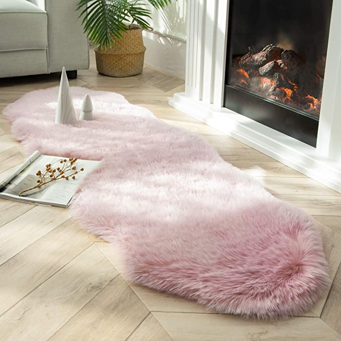 Ashler Soft Fox Faux Fur Chair Couch Cover Area Rug for Bedroom Floor Sofa Living Room Pink White 2 x 6 Feet