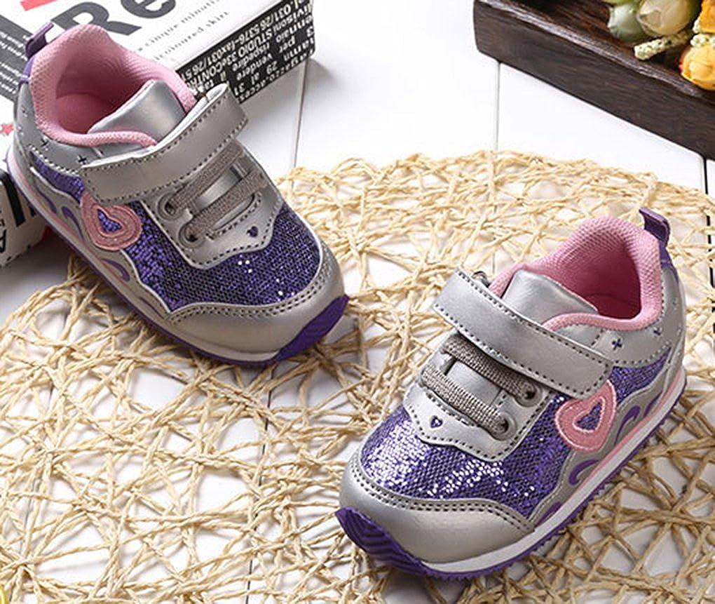 b069baa8ff8ea VECJUNIA Fille Confortable Chaussures Premier Pas à Paillettes Motif du Cœur  Sole Souple Baskets Violet 24 EU  Amazon.fr  Chaussures et Sacs