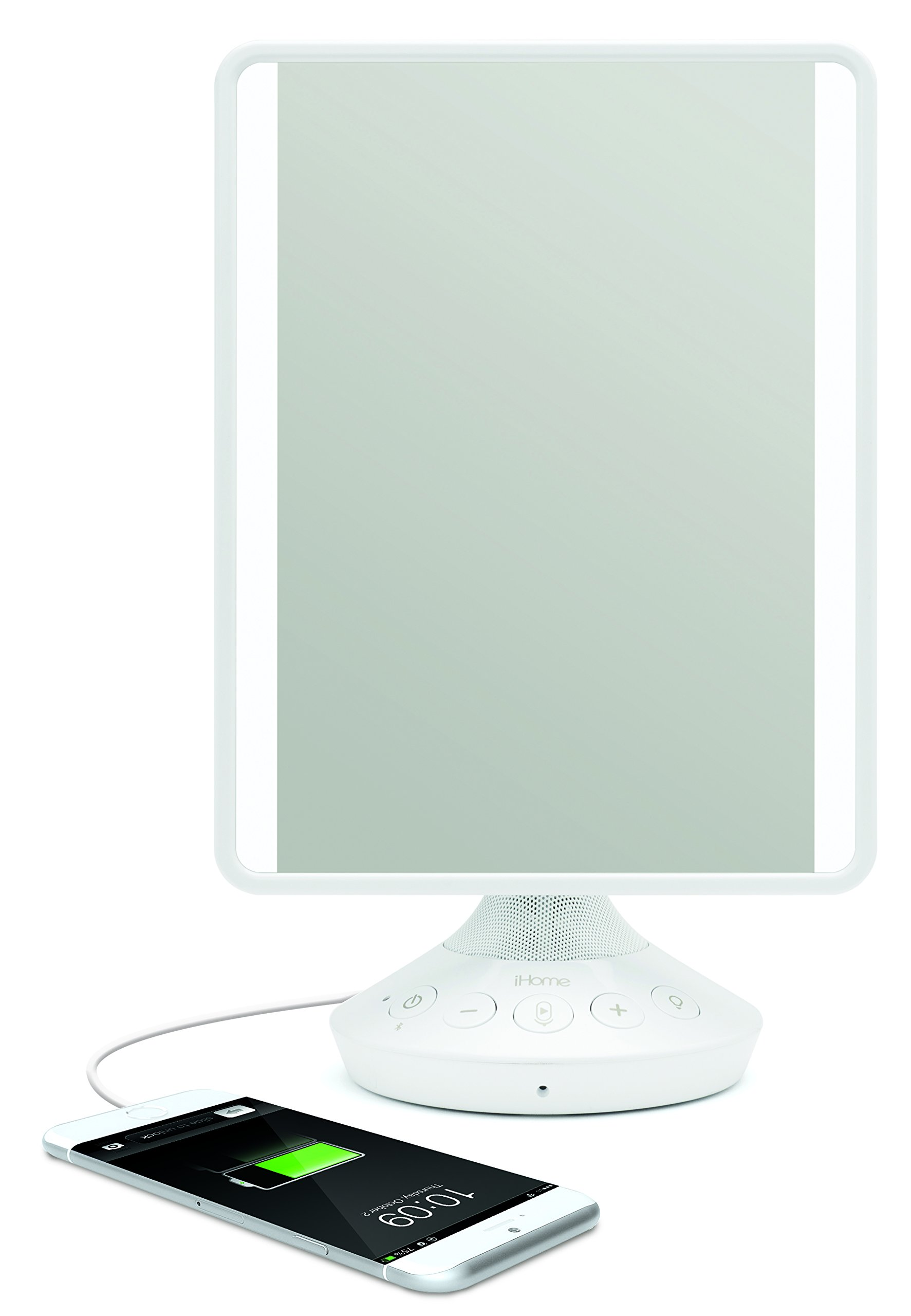 iHome 7'' x 9'' Reflect iCVBT2 Adjustable Vanity Mirror with Bluetooth Audio, Hands-Free Speakerphone, LED Lighting, Siri & Google Support USB Charging, Flat Panel LED Lighting (White)