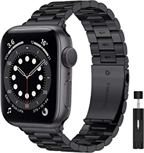 Liwin Metal Band Compatible with Apple Watch Series SE/6/5/4/3/2/1, Series 6 Band for Men Women, Replacement Stainless Steel Business Bracelet Wrist Strap Accessory for iWatch Band (42mm/44mm, Black)