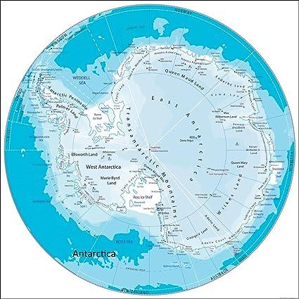 Antarktis Karte Papier Laminiert 100 X 100 Cm Amazon De