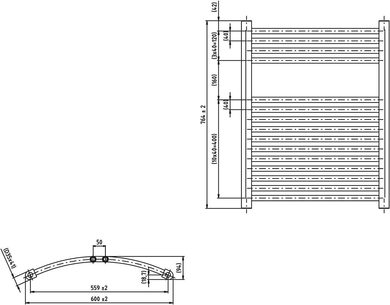 Heizk/örper Badheizk/örper gebogen 1732 x 750 anthrazit mit Mittelanschluss 50 mm