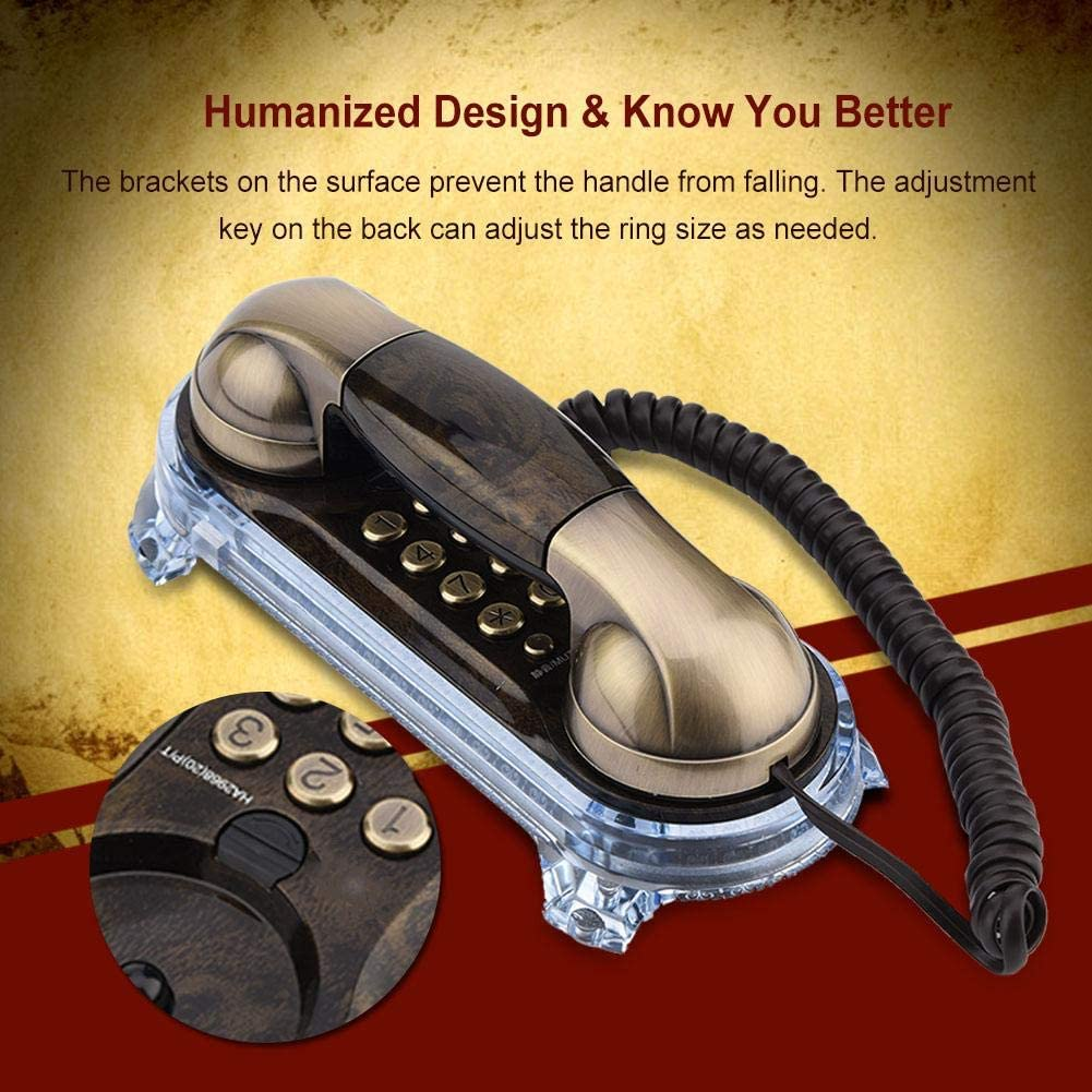 Bronze Bewinnner Europ/äisches Retro Telefon,Schnurgebundenes Antikes Wandtelefon,Festnetztelefon f/ür Zuhause mit Metallbeschaffenheit//Verschlei/ßfestigkeit//Doppelaufstellung