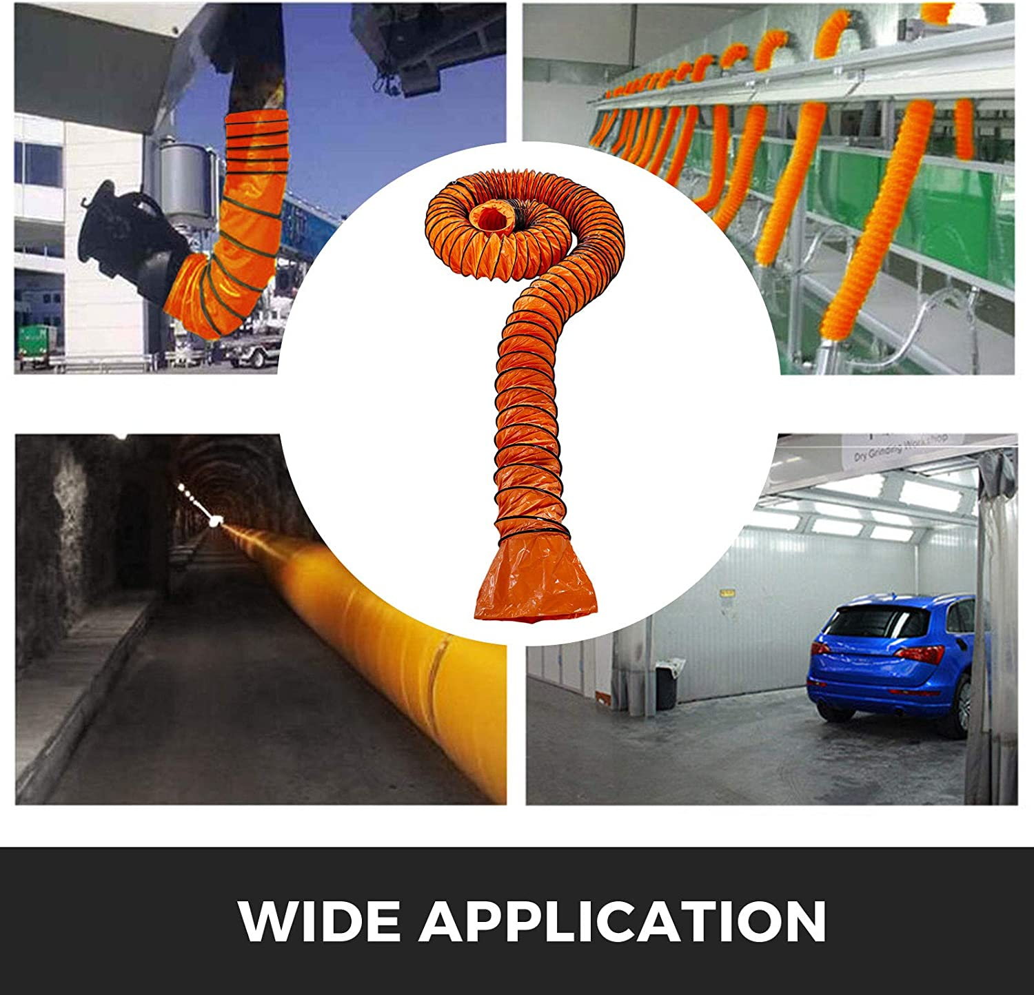 FlowerW Duct Hosing 49 Ft PVC Ducting 6 Inch Flexible Hosing 0.011 Inch Flexible PVC Ducting for Duct Fans and Vent Exhausts in Factories Basements Farms Chemical Tunnel Automobile Manufacturing