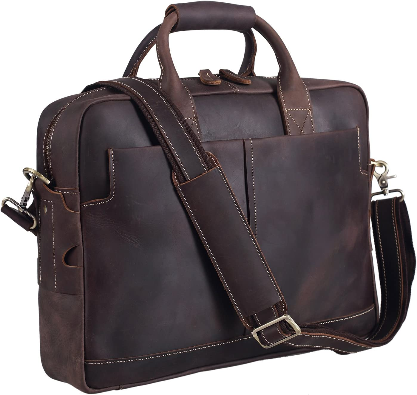 Polare Thick Authentic Full Grain Leather 16'' Laptop Attach Case Bag Briefcase For Men