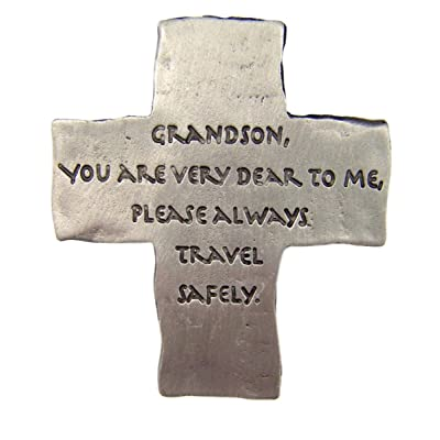 Fine Pewter Grandson Drive Safely Cross Car Auto Visor Clip, 2 1/8 Inch: Automotive