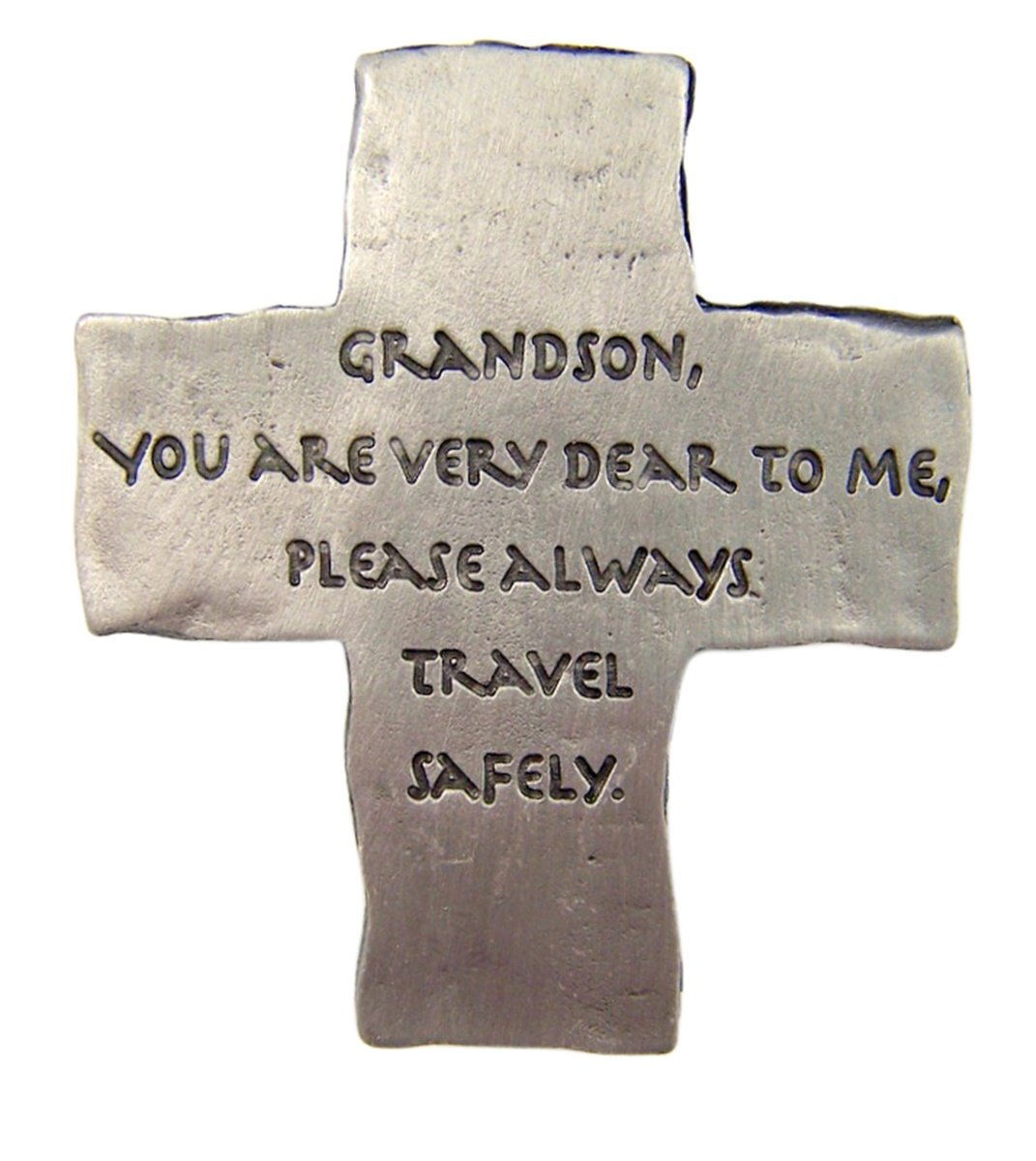 Fine Pewter Grandson Drive Safely Cross Car Auto Visor Clip, 2 1/8 Inch Singer Co