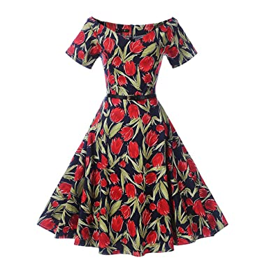 Womens Floral Print Belted Vintage Dress Short Sleeves Elegant 60s Summer Retro Dress For Party Office
