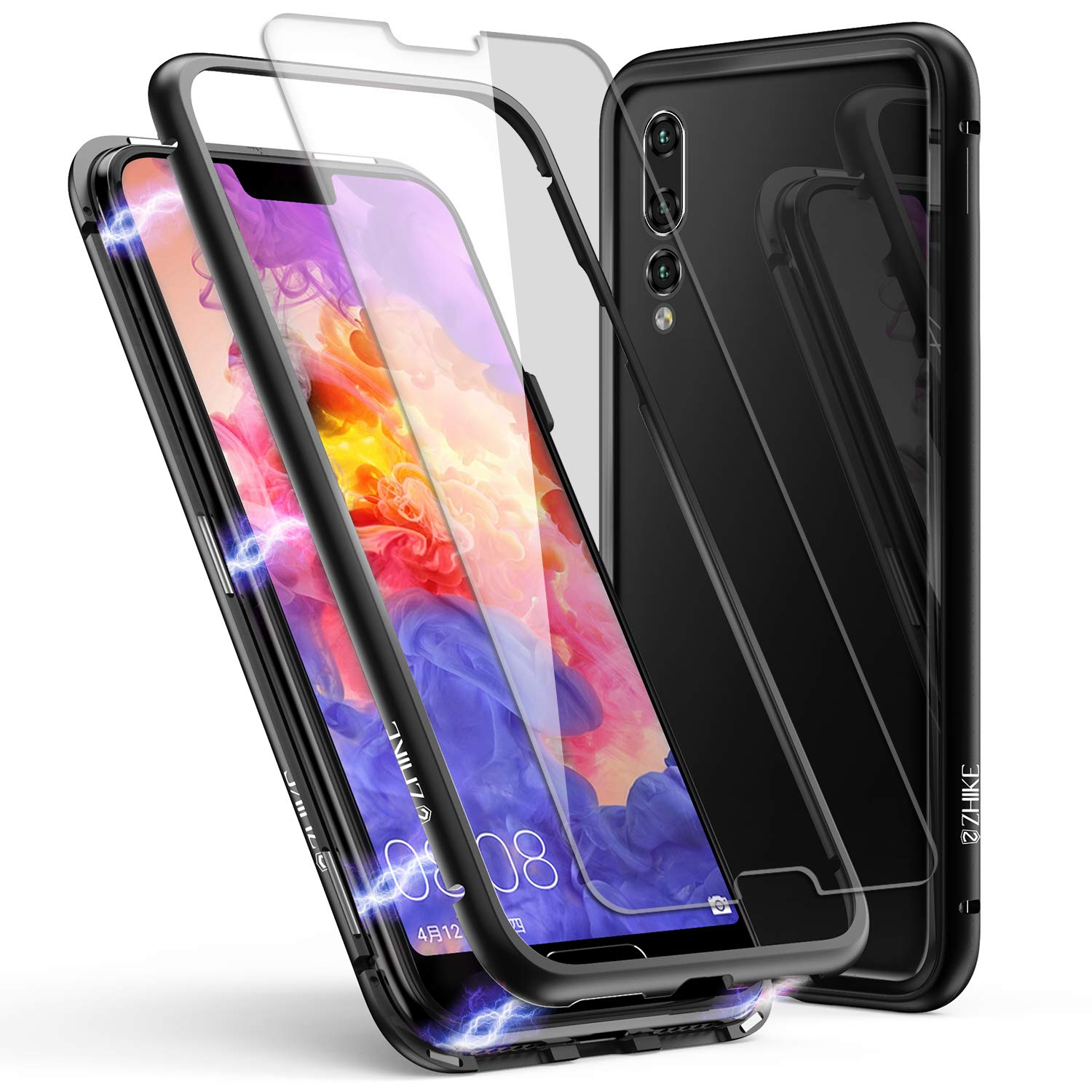 sale retailer 67cd8 0e2c1 Huawei P20 Pro Case, ZHIKE Magnetic Adsorption Case Metal Frame Tempered  Glass Back with Built-in Magnet Cover for Huawei P20 Pro (Clear Black)