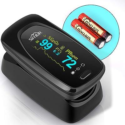 SIMBR Oxímetro de Dedo con Pantalla LCD Pulsioxímetro de Pulso para Medición de SpO2 con Alarma y 4 Direcciones Giratorias Certificado por CE para Adultos y Niños