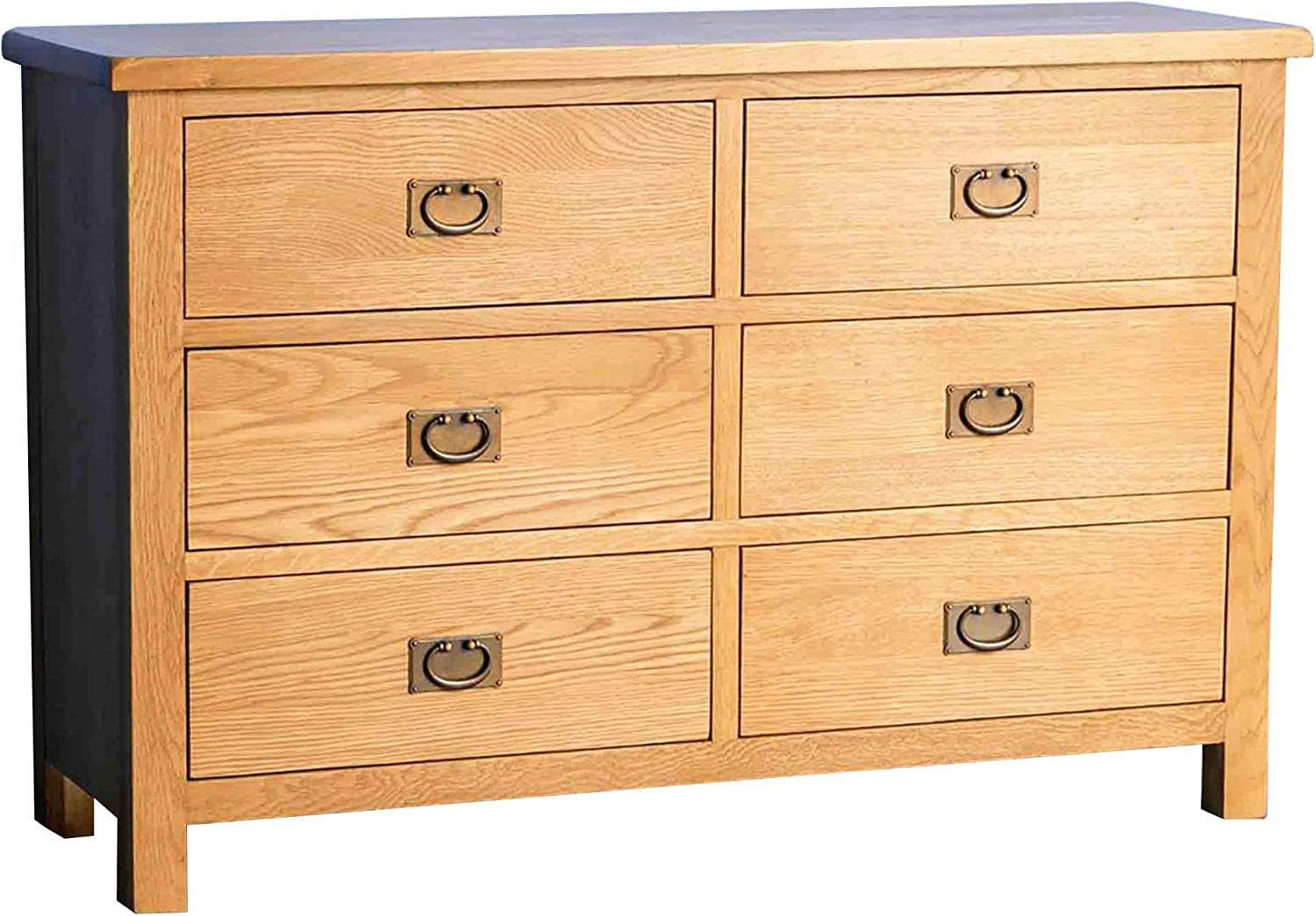 Surrey Oak 3 3 Chest Of Drawers Large Wide Traditional Rustic Waxed Solid Wood 6 Drawer Storage Chest For Bedroom Fully Assembled 38 X 120 X 78 Cm Amazon Co Uk Kitchen Home